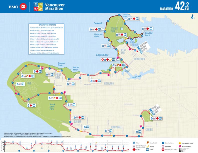 2012, 2013, 2014, 2015, 2016, 2017, 2018 Marathon Course. Vancouver Marathon RUNVAN