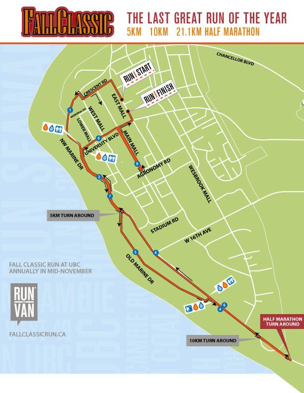 Fall Classic Half Marathon Course Map