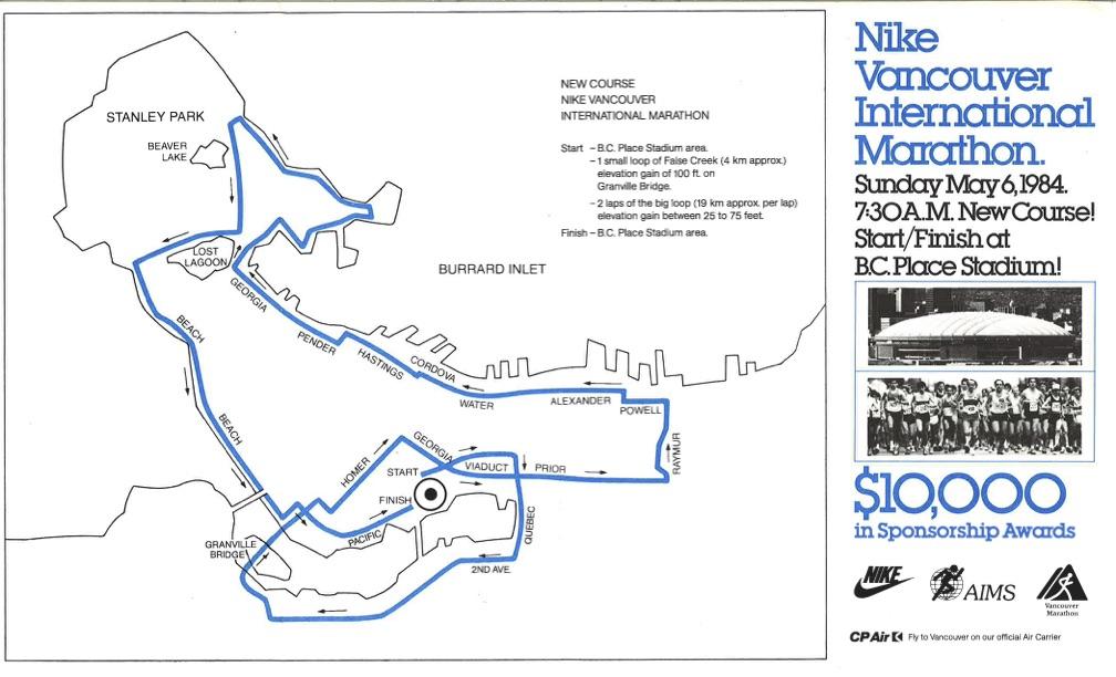 1984, 1985 Marathon Course. Vancouver Marathon RUNVAN