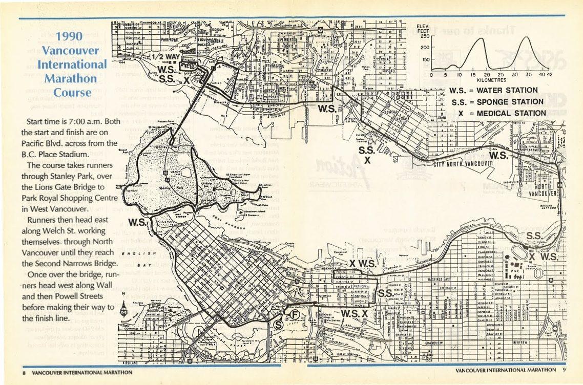 1990, 1991, 1992, 1993, 1994, 1995, 1996, 1997, 1998 Marathon Course. Vancouver Marathon RUNVAN