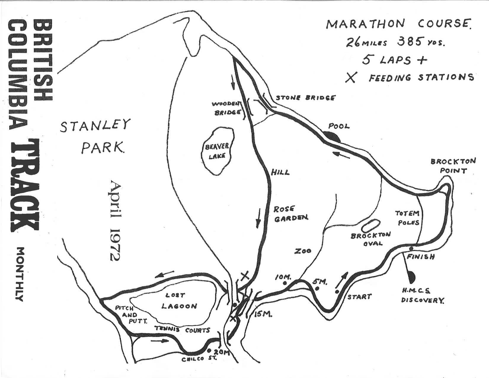 1979, 1980, 1981, 1982, 1983 Marathon Course. Vancouver Marathon RUNVAN