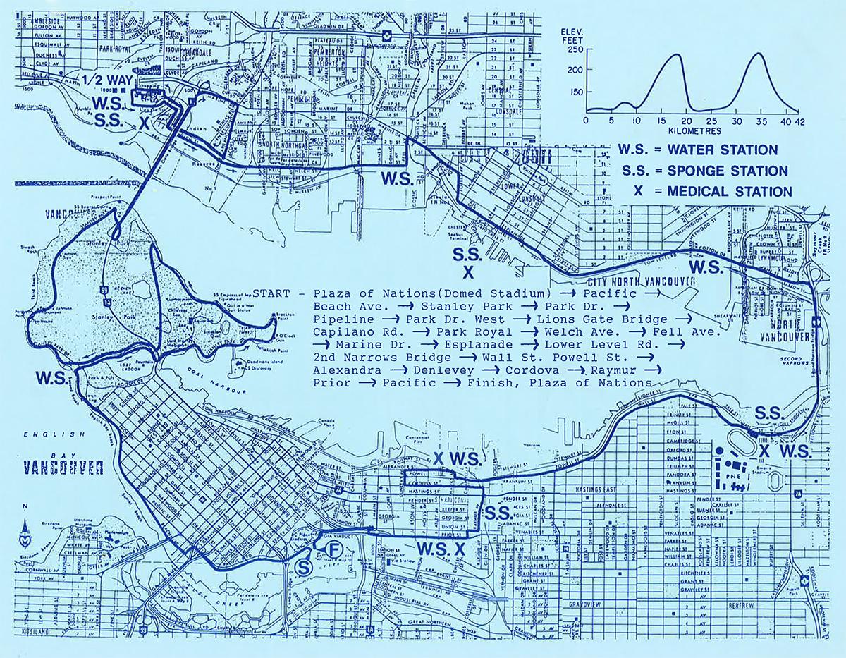 1986 Marathon Course. Vancouver Marathon RUNVAN