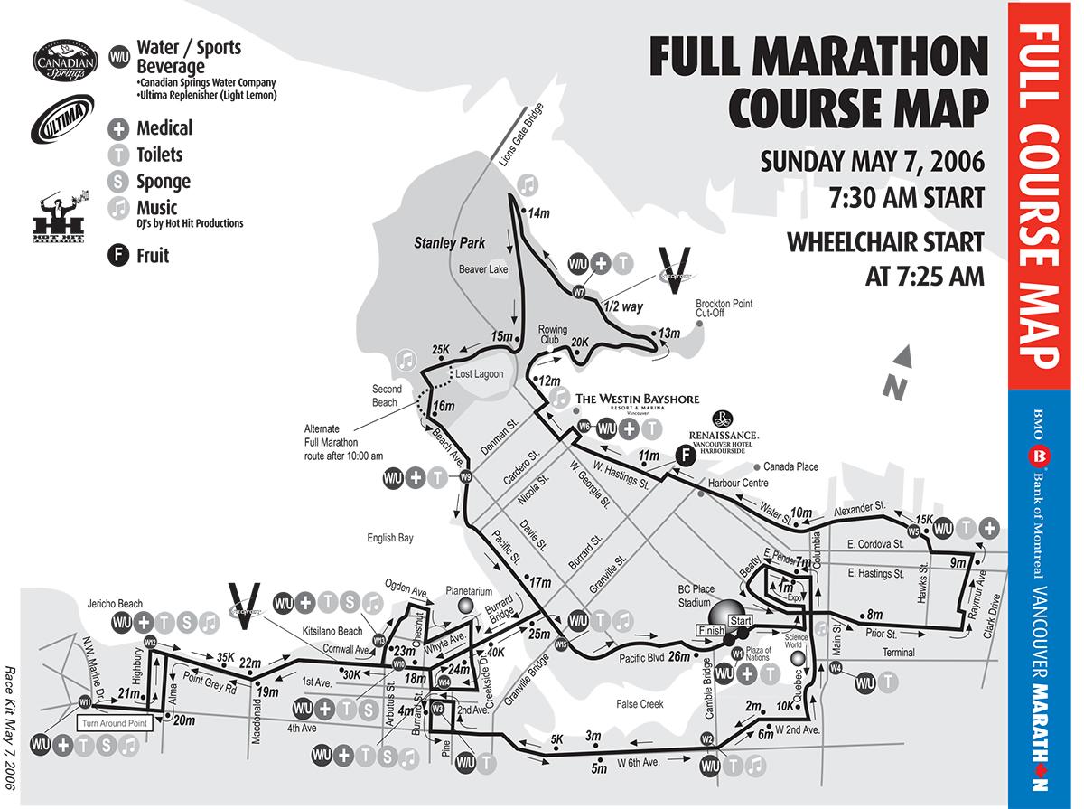 1999, 2000, 2001, 2002, 2003, 2004, 2005, 2006, 2007, 2008, 2009, 2010, 2011 Marathon Course. Vancouver Marathon RUNVAN